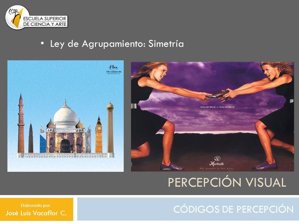 Percepción visual Ley de Agrupamiento: Simetría CÓDIGOS DE PERCEPCIÓN