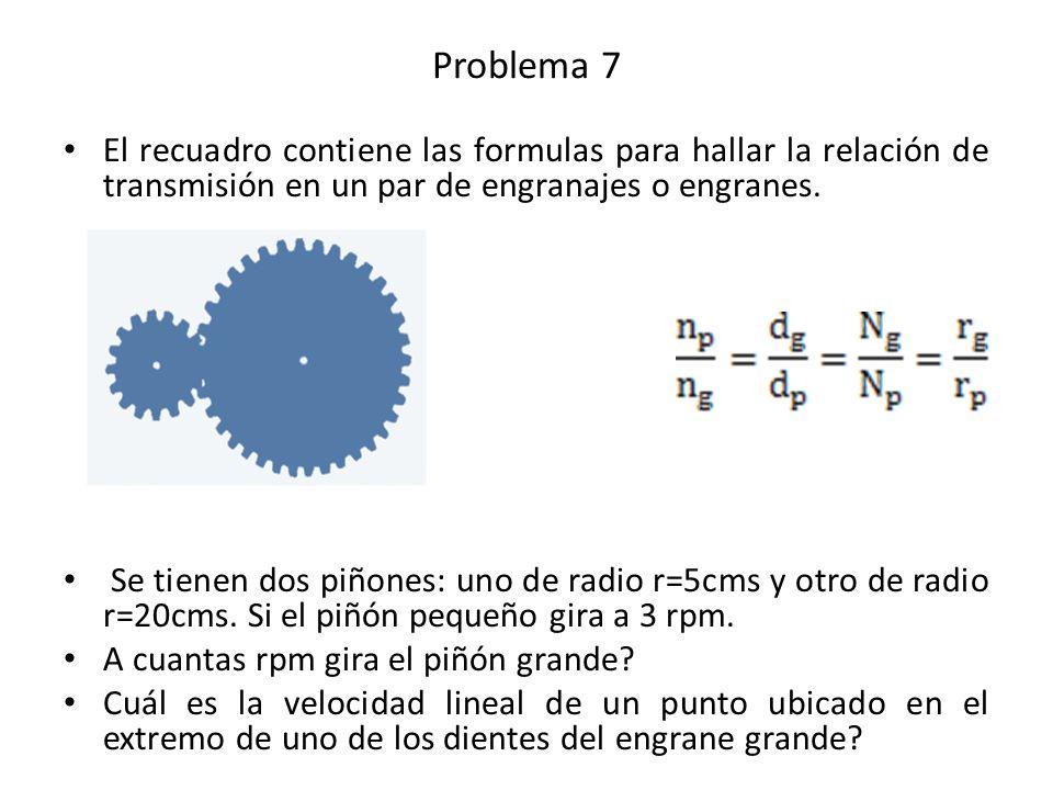 Problema 7 El recuadro contiene las formulas para hallar la relación de transmisión en un par de engranajes o engranes.