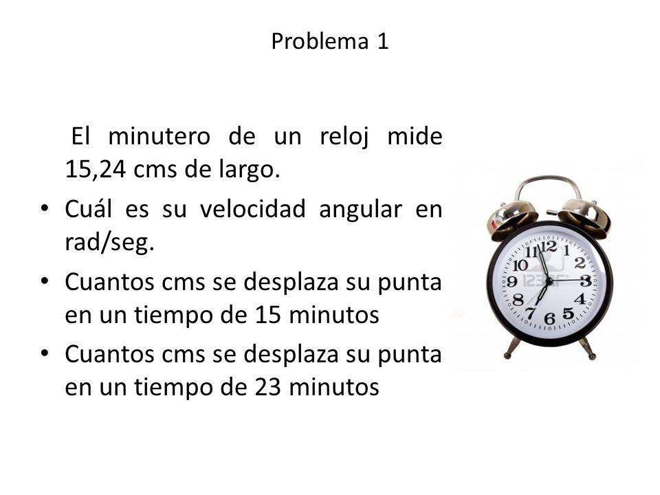 El minutero de un reloj mide 15,24 cms de largo.