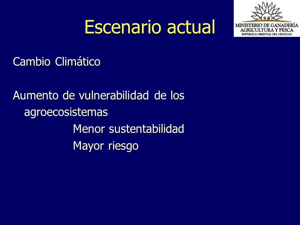 Escenario actual Cambio Climático Aumento de vulnerabilidad de los