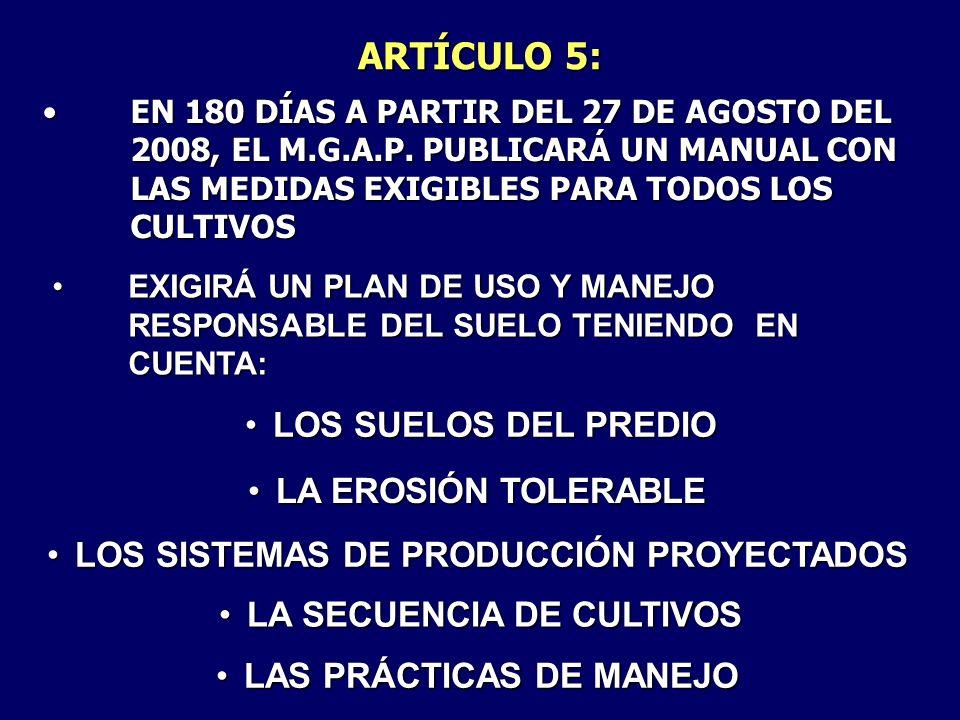 ARTÍCULO 5: LOS SUELOS DEL PREDIO LA EROSIÓN TOLERABLE