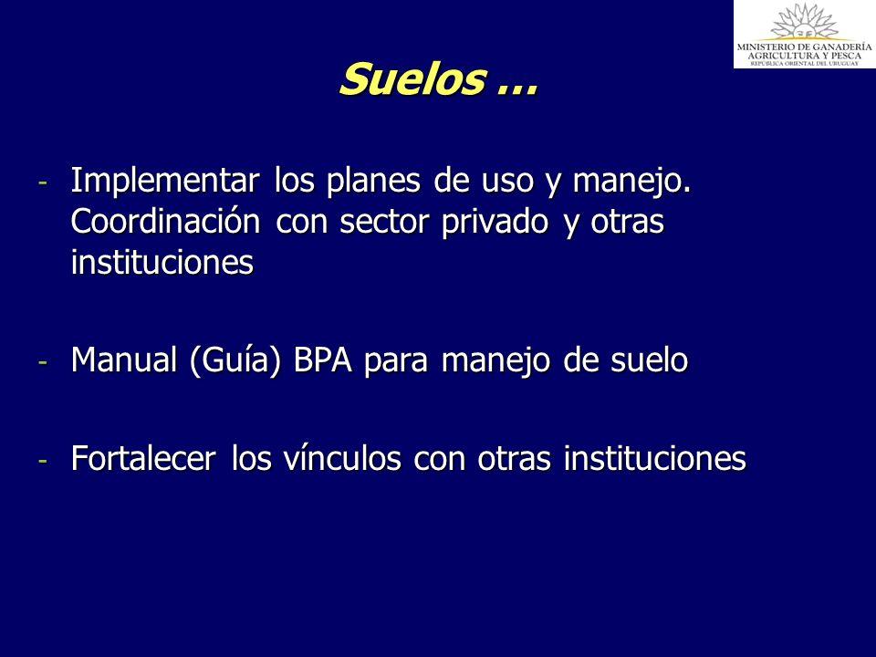 Suelos … Implementar los planes de uso y manejo. Coordinación con sector privado y otras instituciones.