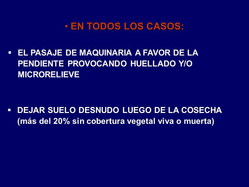 EN TODOS LOS CASOS: EL PASAJE DE MAQUINARIA A FAVOR DE LA PENDIENTE PROVOCANDO HUELLADO Y/O MICRORELIEVE.