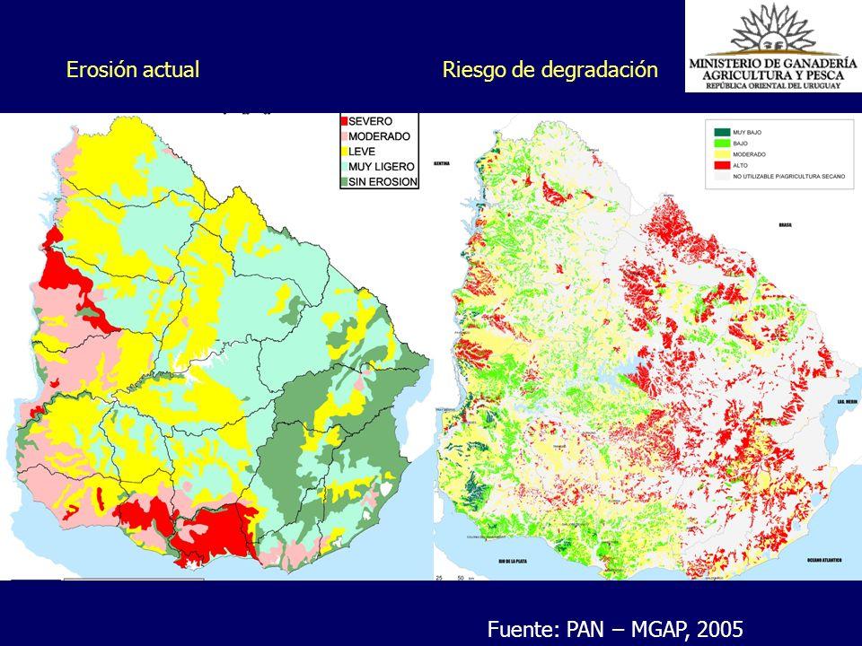 Erosión actual Riesgo de degradación