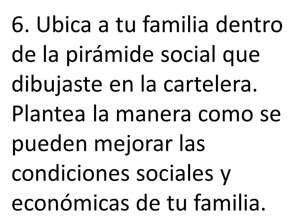 6. Ubica a tu familia dentro de la pirámide social que dibujaste en la cartelera.