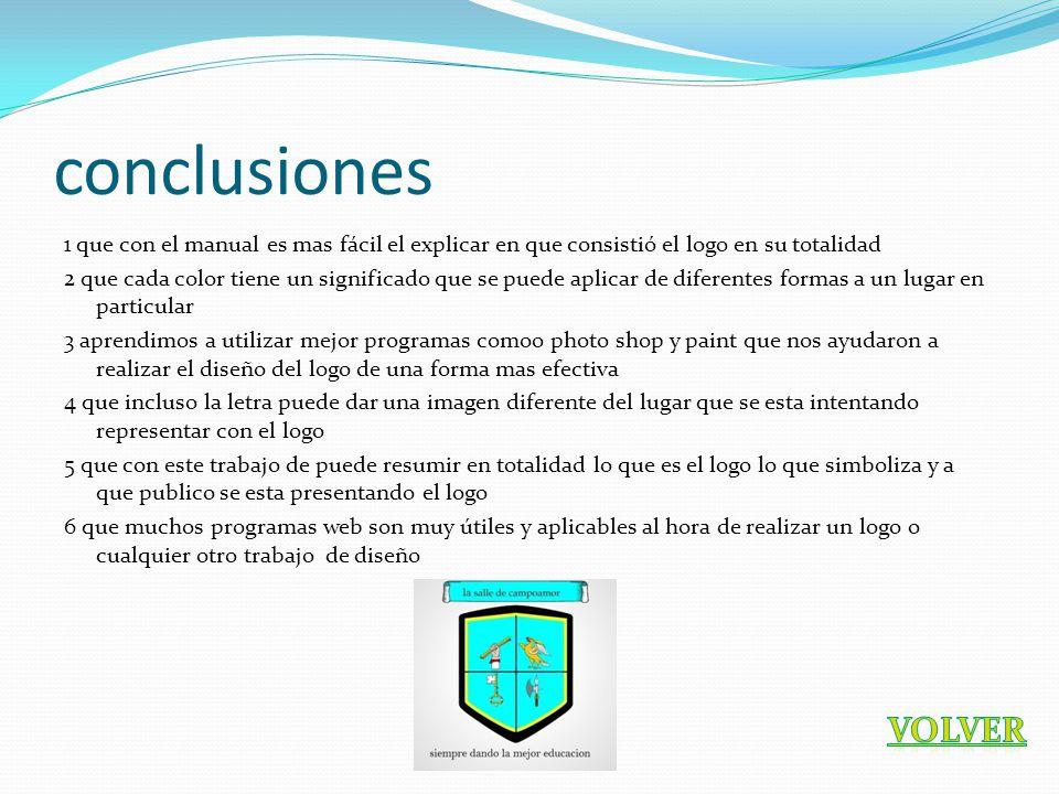 conclusiones 1 que con el manual es mas fácil el explicar en que consistió el logo en su totalidad.