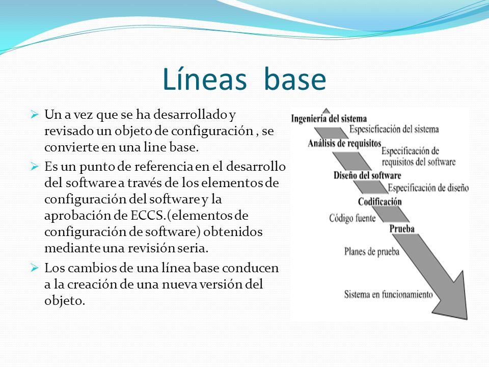 Líneas base Un a vez que se ha desarrollado y revisado un objeto de configuración , se convierte en una line base.