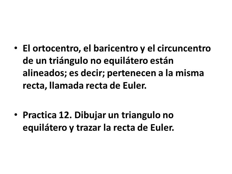 El ortocentro, el baricentro y el circuncentro de un triángulo no equilátero están alineados; es decir; pertenecen a la misma recta, llamada recta de Euler.