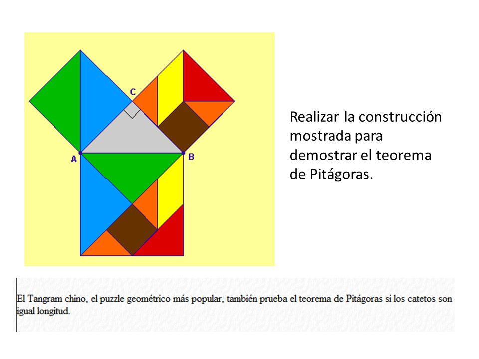Realizar la construcción mostrada para demostrar el teorema de Pitágoras.