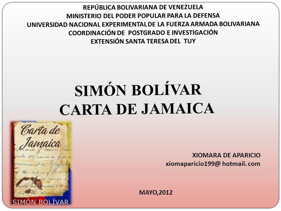SIMÓN BOLÍVAR CARTA DE JAMAICA