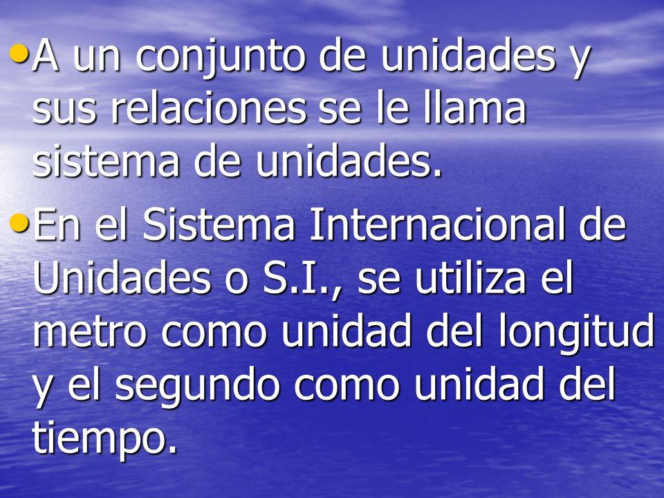 A un conjunto de unidades y sus relaciones se le llama sistema de unidades.
