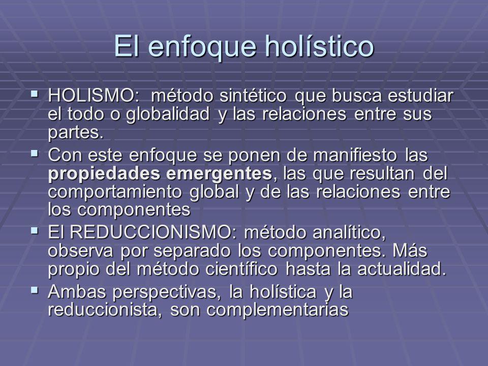 El enfoque holístico HOLISMO: método sintético que busca estudiar el todo o globalidad y las relaciones entre sus partes.