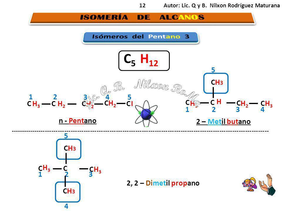 C5 H12 Lic. Q. B. Nilxon RoMa ISOMERÍA DE ALCANOS