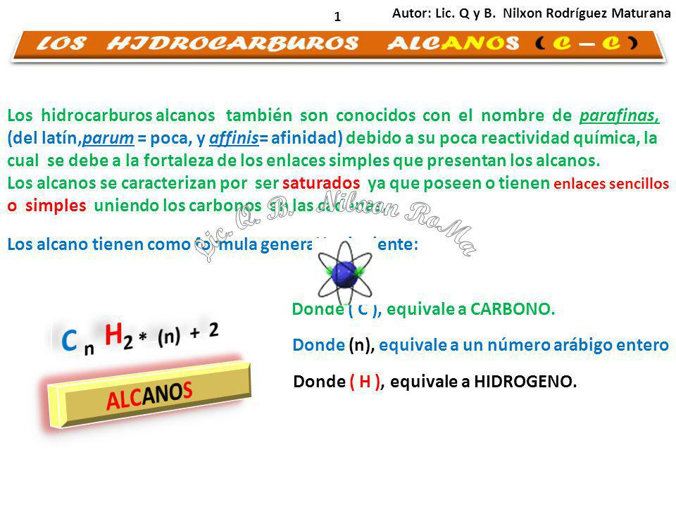 LOS HIDROCARBUROS ALCANOS ( C – C )