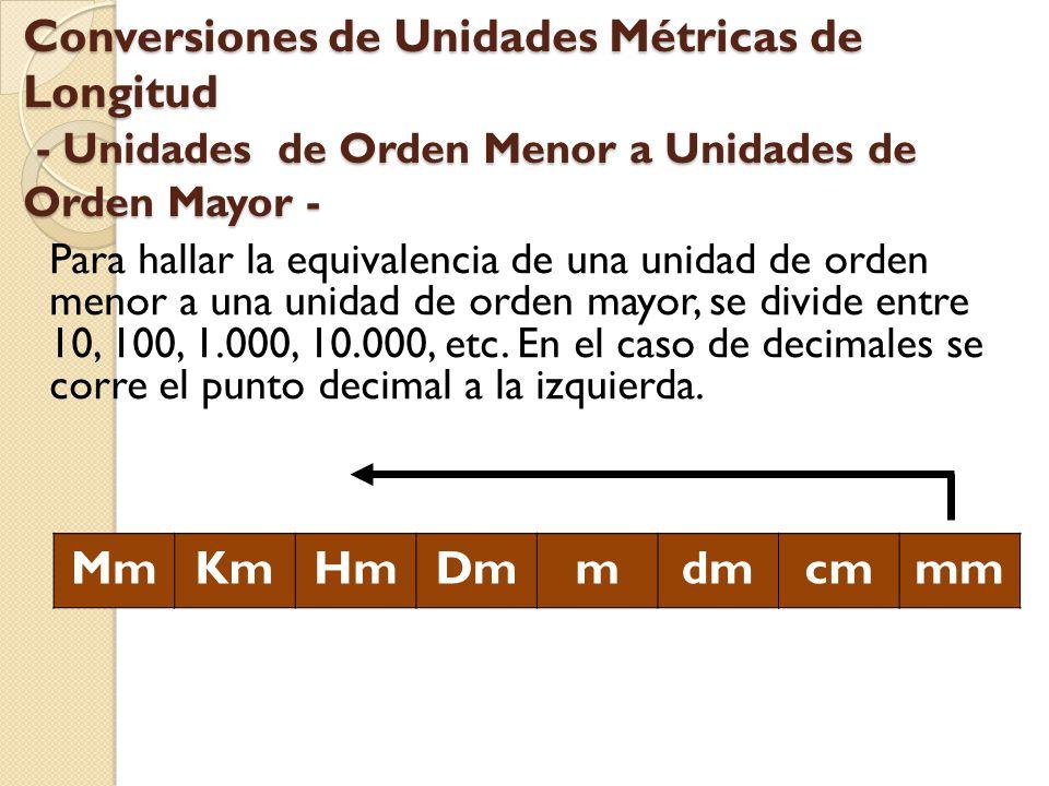 Conversiones de Unidades Métricas de Longitud - Unidades de Orden Menor a Unidades de Orden Mayor -