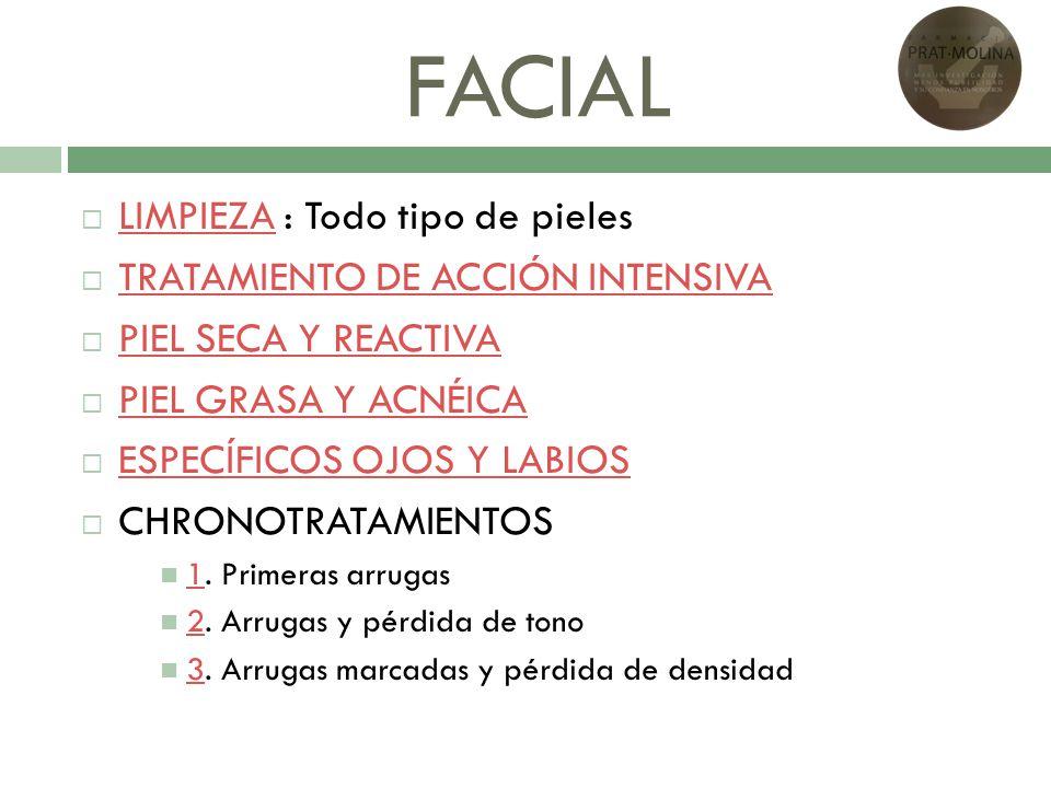 FACIAL LIMPIEZA : Todo tipo de pieles TRATAMIENTO DE ACCIÓN INTENSIVA