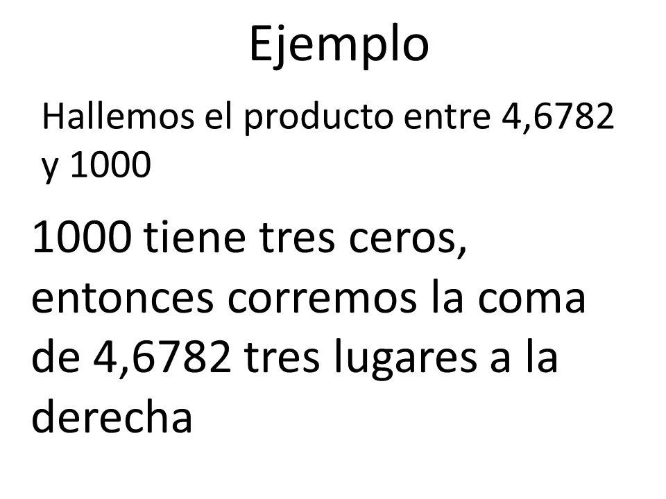 Ejemplo Hallemos el producto entre 4,6782 y 1000.