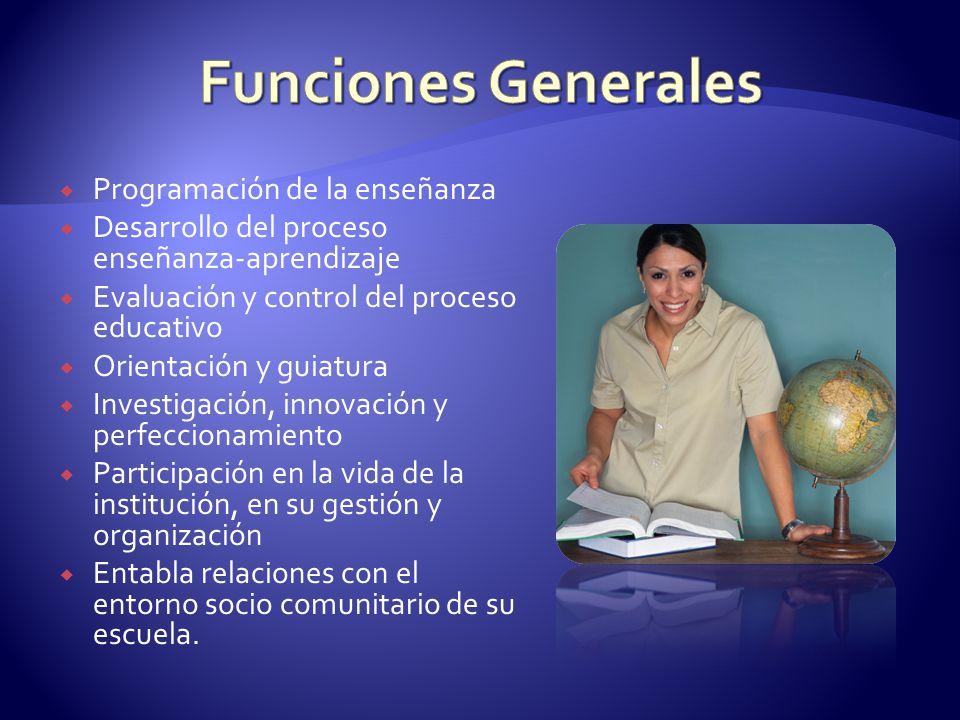 Funciones Generales Programación de la enseñanza