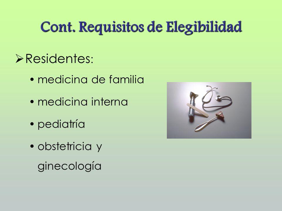 Cont. Requisitos de Elegibilidad