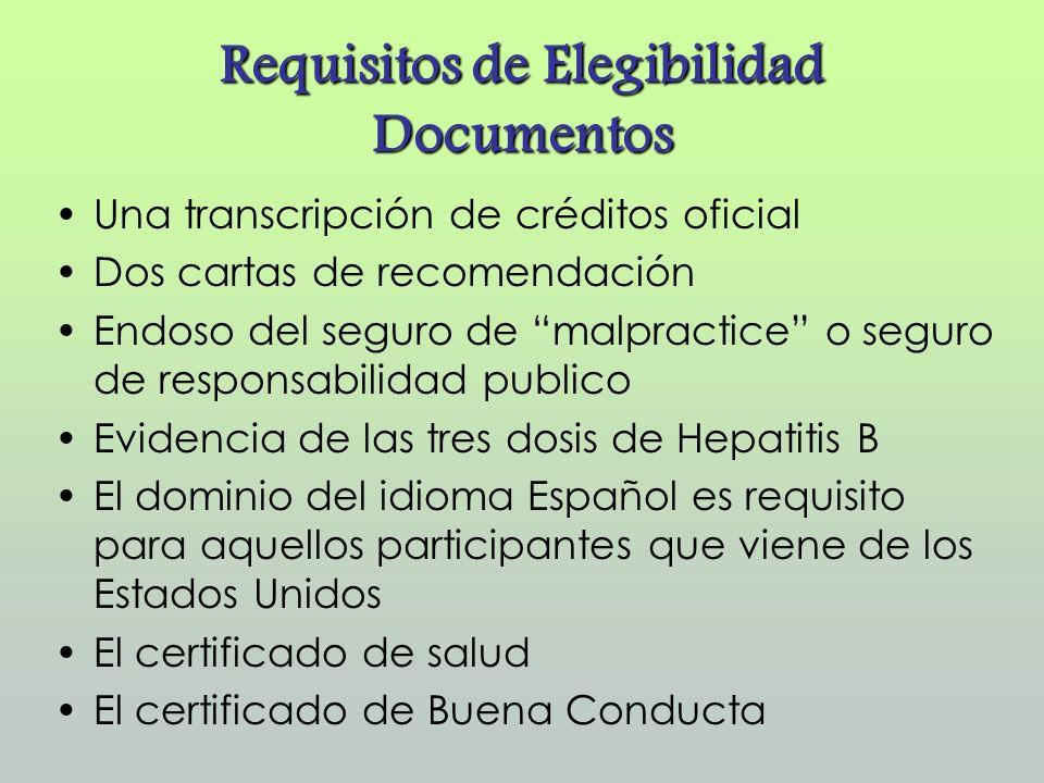 Requisitos de Elegibilidad Documentos