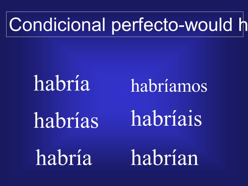 habría habríais habrías habría habrían Condicional perfecto-would have