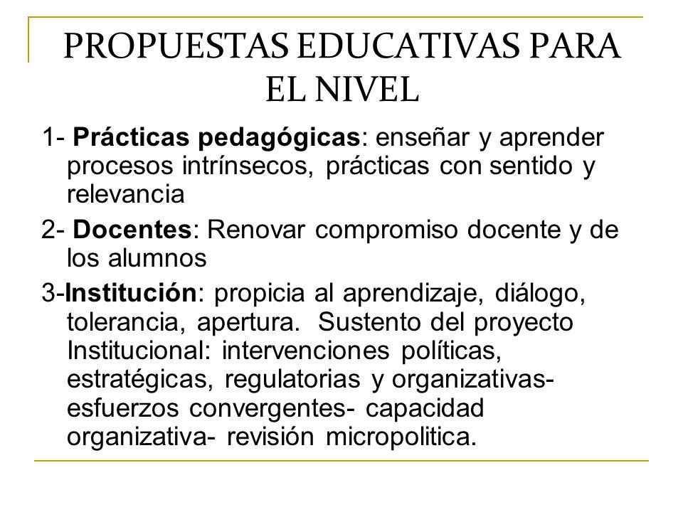 PROPUESTAS EDUCATIVAS PARA EL NIVEL