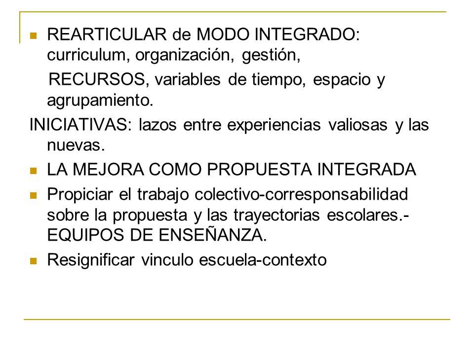 REARTICULAR de MODO INTEGRADO: curriculum, organización, gestión,