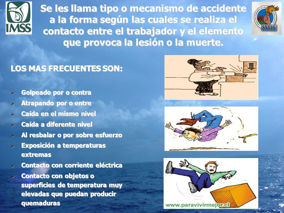 Se les llama tipo o mecanismo de accidente a la forma según las cuales se realiza el contacto entre el trabajador y el elemento que provoca la lesión o la muerte.