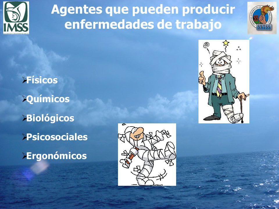 Agentes que pueden producir enfermedades de trabajo