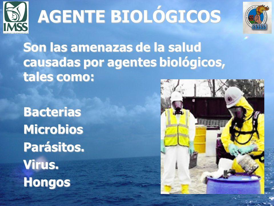 AGENTE BIOLÓGICOS Son las amenazas de la salud causadas por agentes biológicos, tales como: Bacterias.