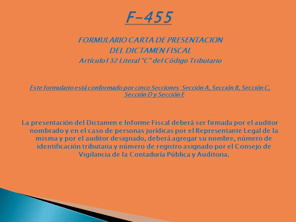 F-455 FORMULARIO CARTA DE PRESENTACION DEL DICTAMEN FISCAL