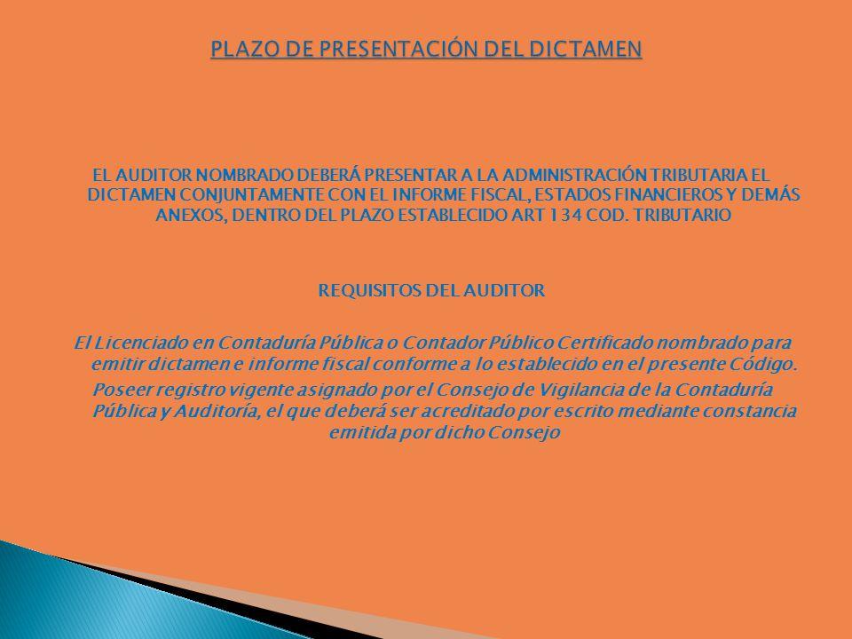 Plazo de presentación del Dictamen