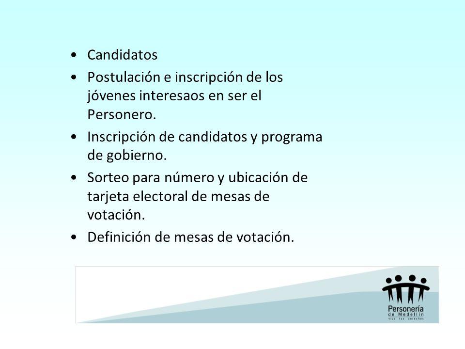 Candidatos Postulación e inscripción de los jóvenes interesaos en ser el Personero. Inscripción de candidatos y programa de gobierno.