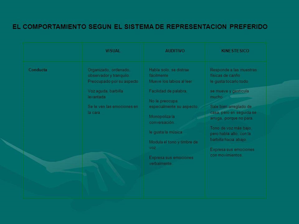 EL COMPORTAMIENTO SEGUN EL SISTEMA DE REPRESENTACION PREFERIDO