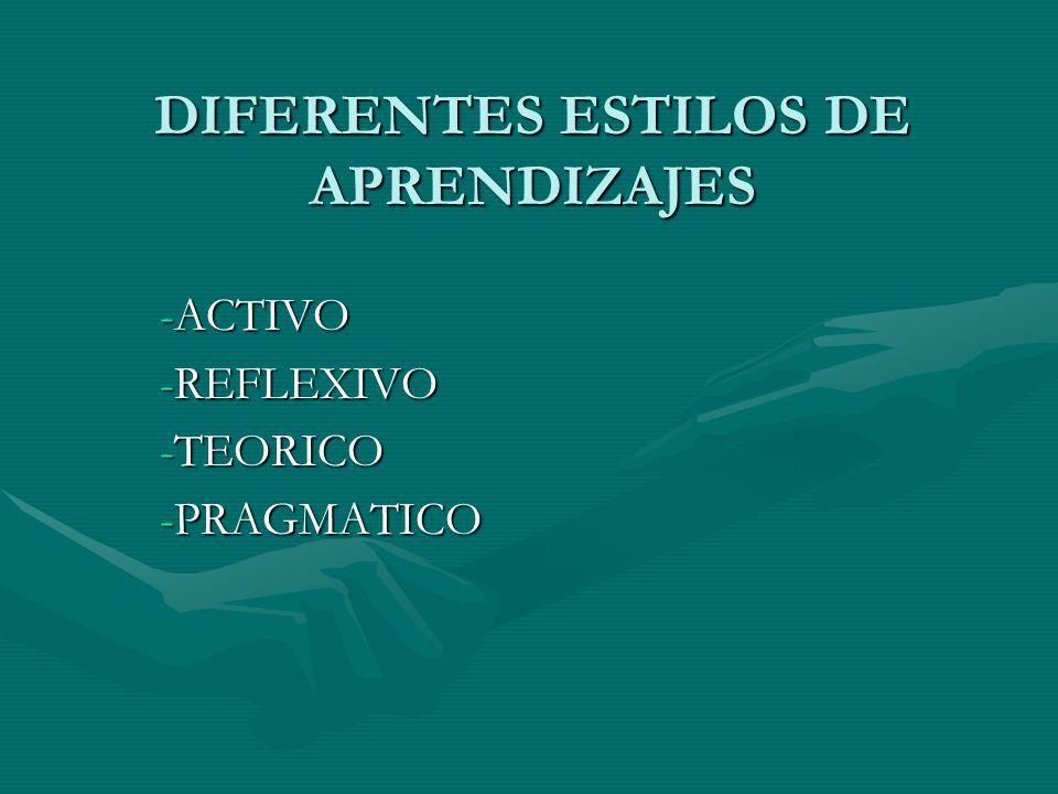 DIFERENTES ESTILOS DE APRENDIZAJES