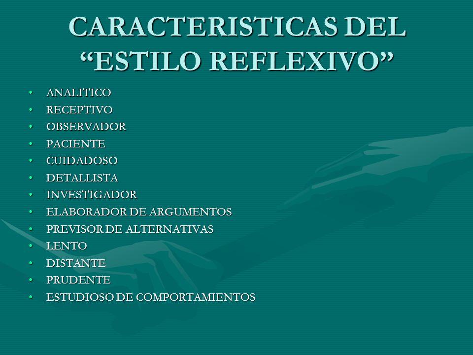 CARACTERISTICAS DEL ESTILO REFLEXIVO
