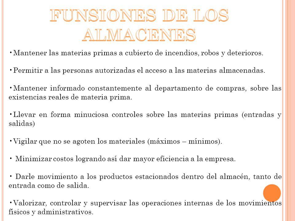 FUNSIONES DE LOS ALMACENES