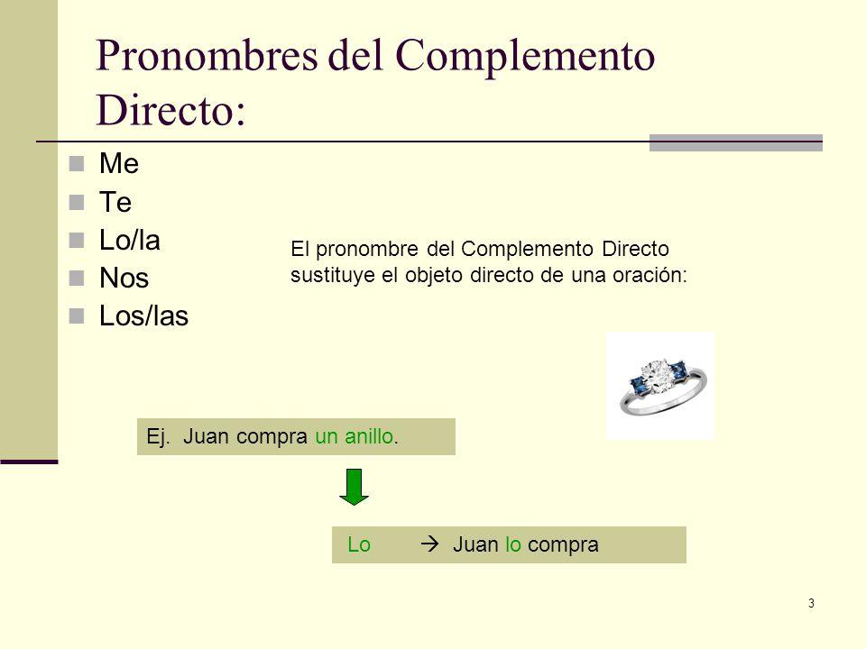 Pronombres del Complemento Directo: