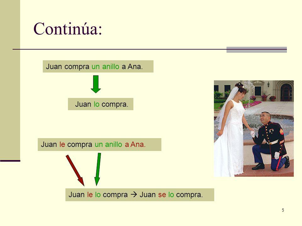 Continúa: Juan compra un anillo a Ana. Juan lo compra.