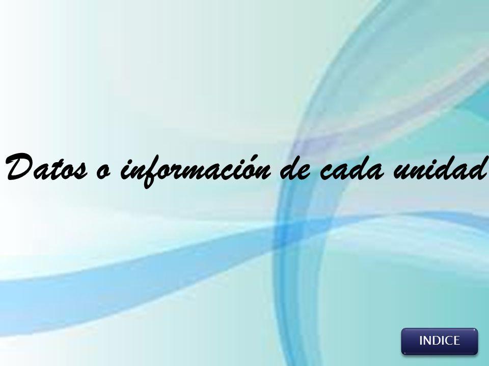 Datos o información de cada unidad