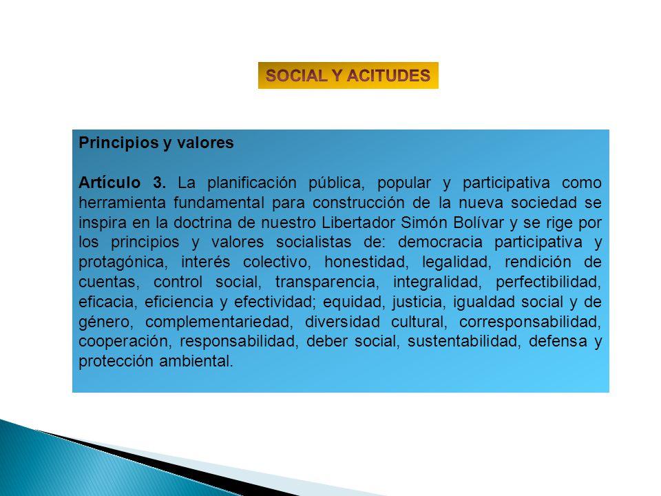 SOCIAL Y ACITUDES Principios y valores.