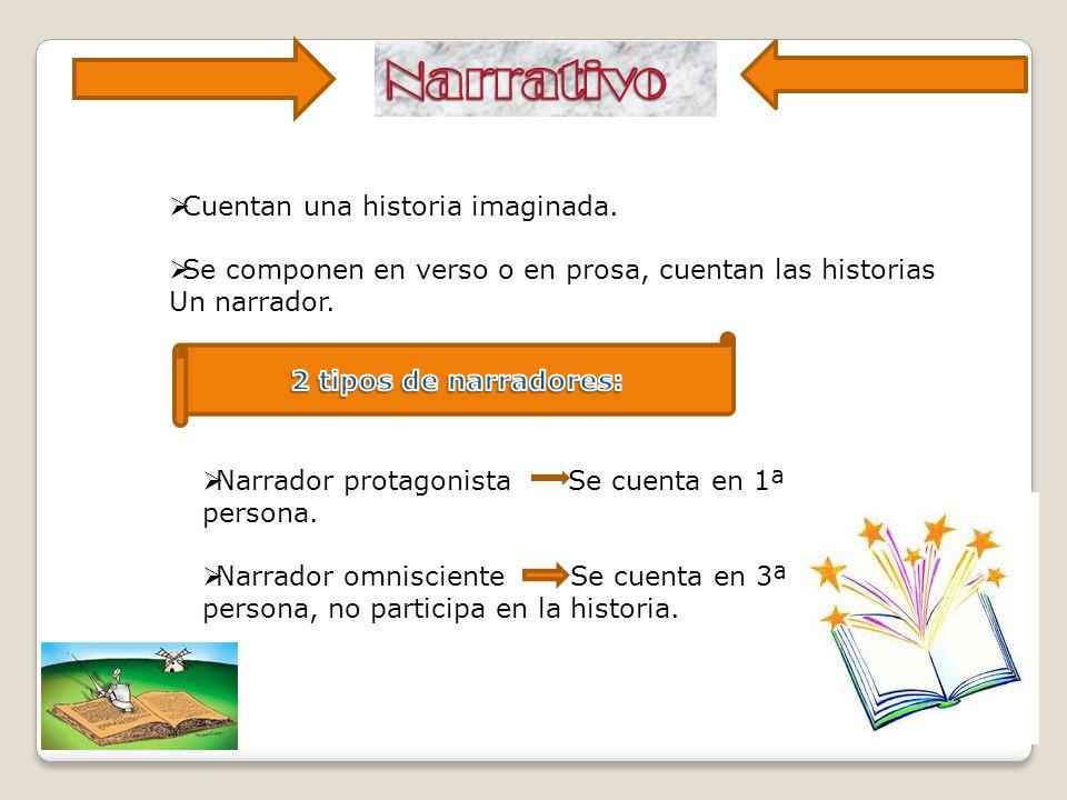 Narrativo Cuentan una historia imaginada.