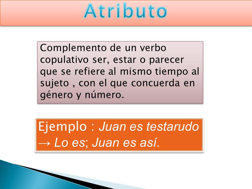 Atributo Ejemplo : Juan es testarudo → Lo es; Juan es así.