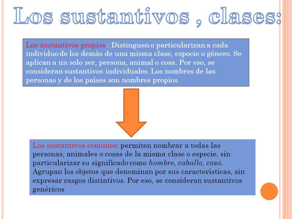 Los sustantivos , clases: