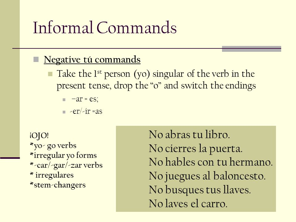 Informal Commands No abras tu libro.