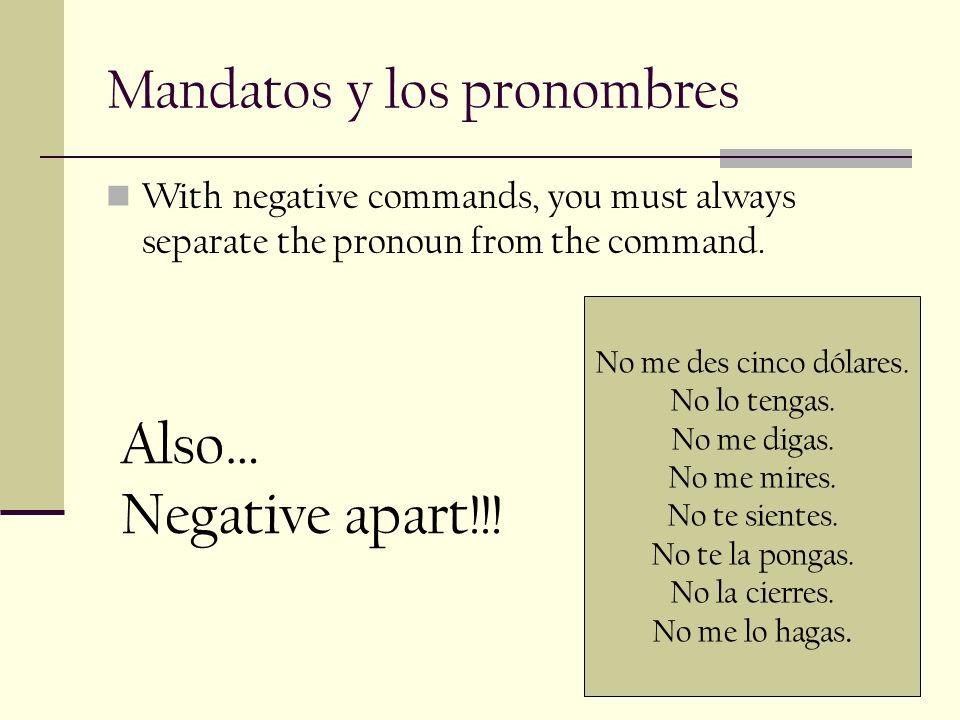 Mandatos y los pronombres