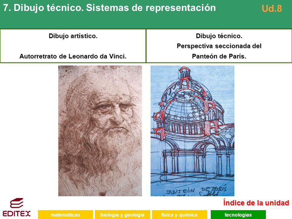 Autorretrato de Leonardo da Vinci. Perspectiva seccionada del