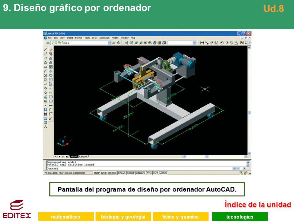 Pantalla del programa de diseño por ordenador AutoCAD.