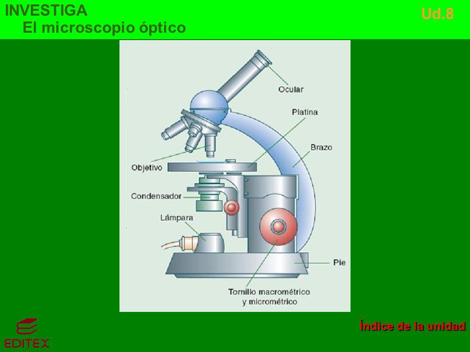 INVESTIGA El microscopio óptico Ud.8 Índice de la unidad