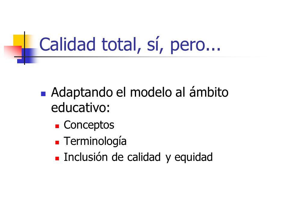 Calidad total, sí, pero... Adaptando el modelo al ámbito educativo: